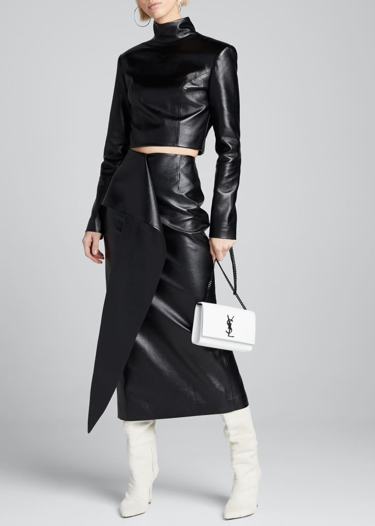 Tie-Waist Faux-Leather Skirt