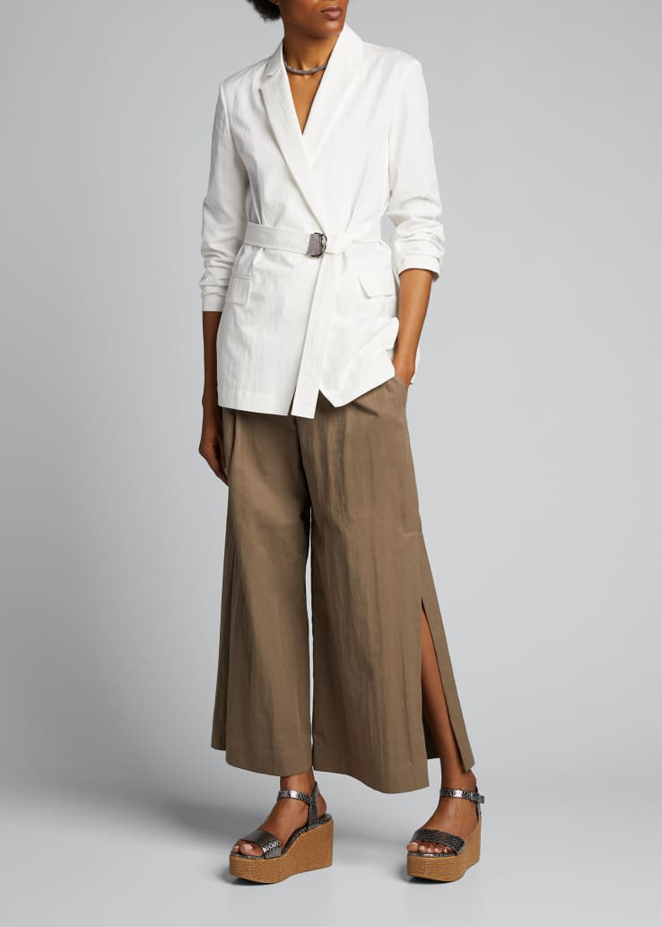 Crispy Cotton Gabardine Cropped Pants