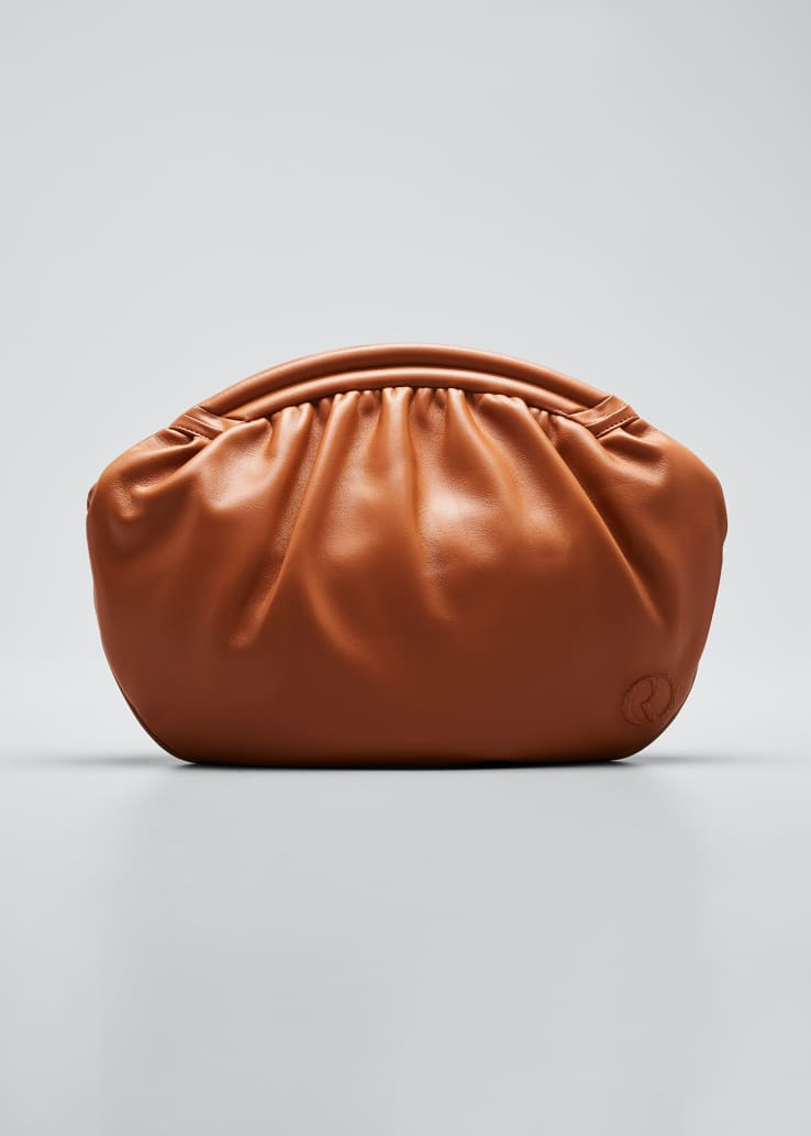Round Leather Clutch Bag