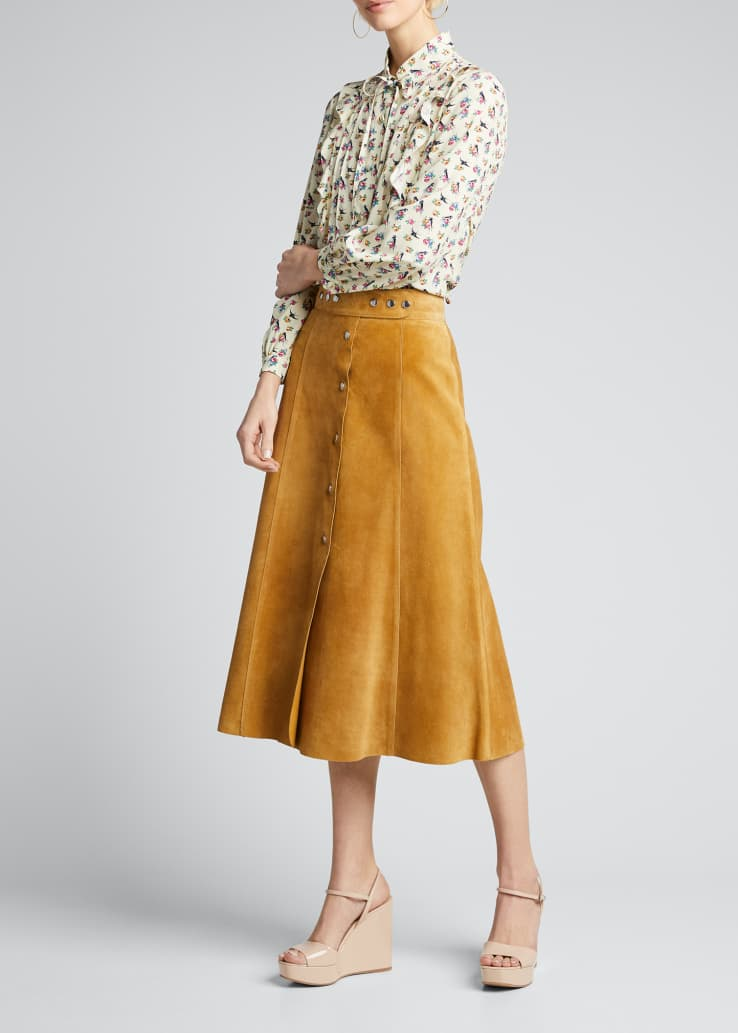 Suede Snap-Front A-Line Skirt