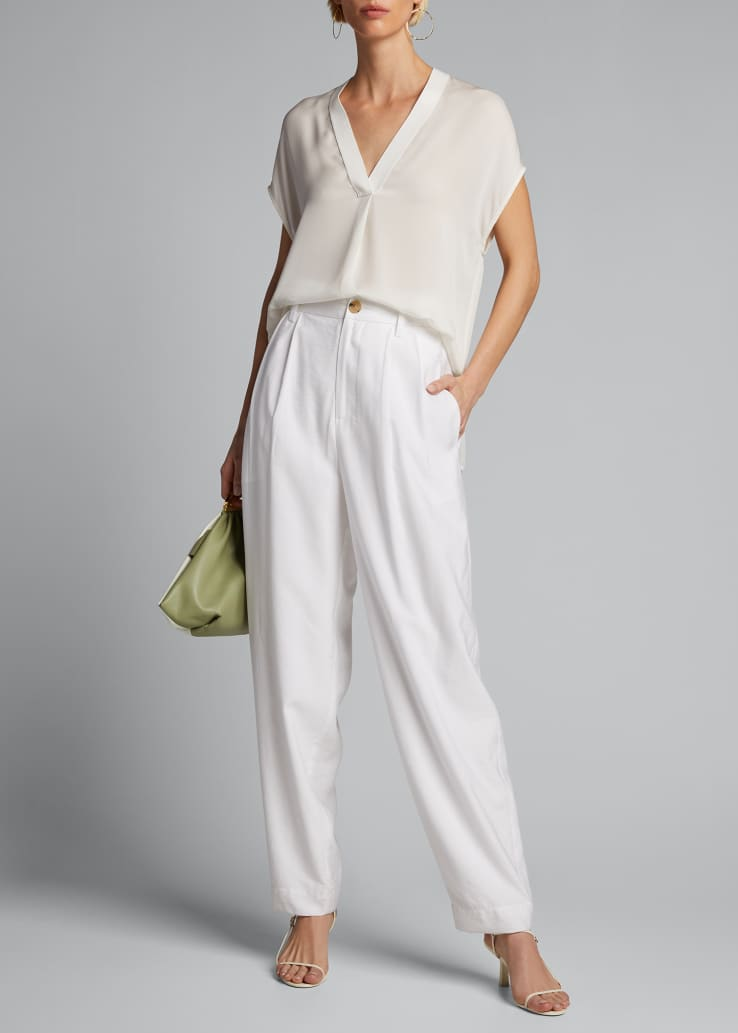 High-Rise Pleated Tapered Trousers