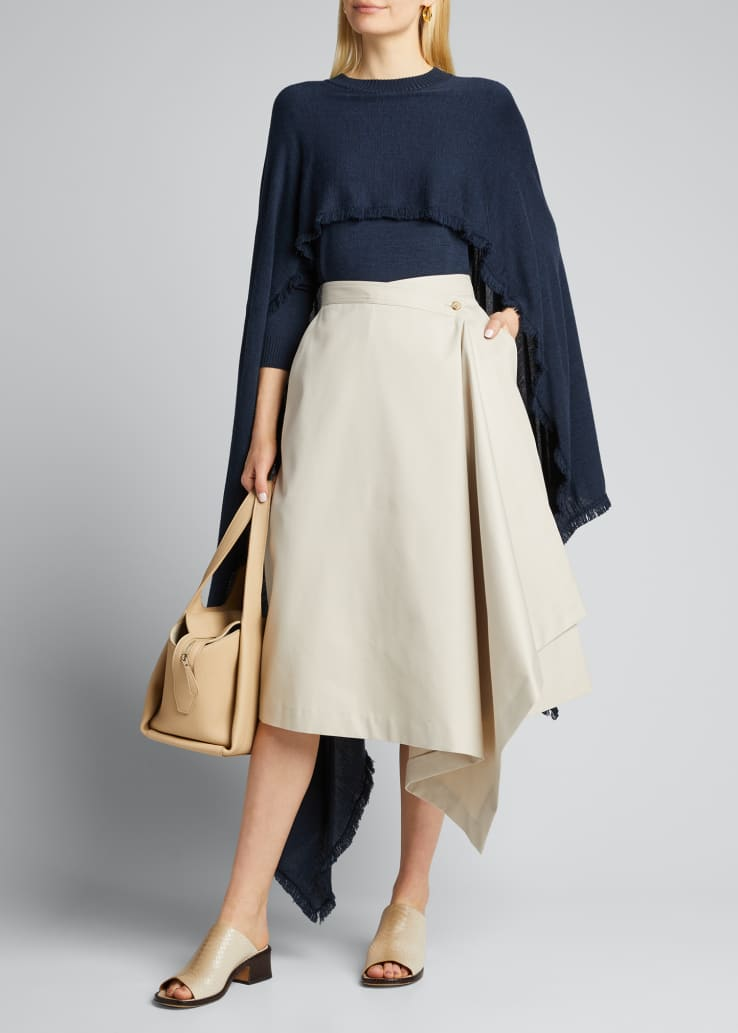 Asymmetric Wrapped Midi Skirt