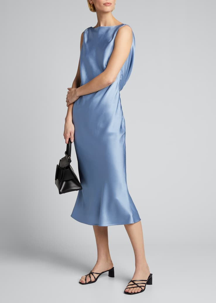 Crepe Back Satin Boat-Neck Dress