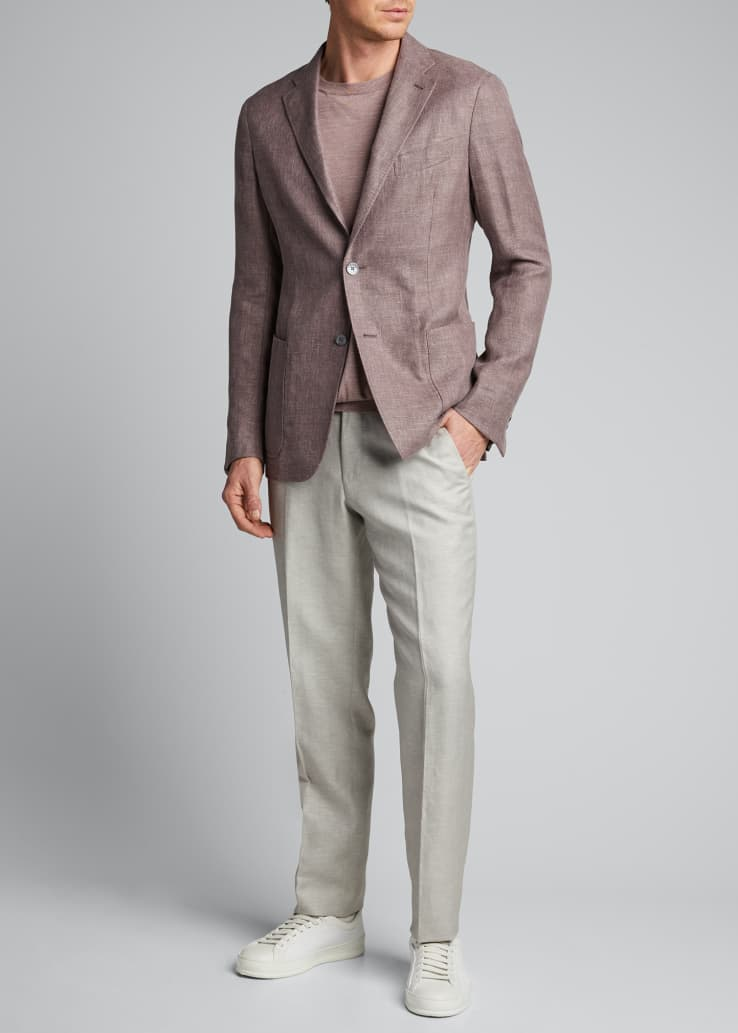 Men's Hopsack Linen Two-Button Jacket