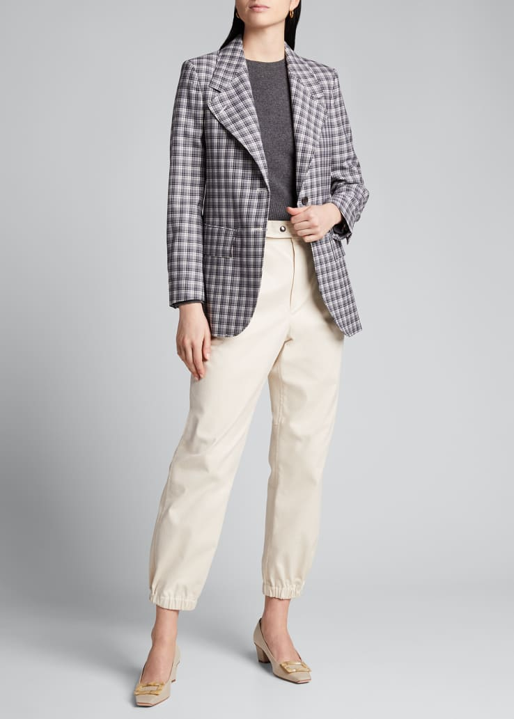 Buffalo-Checked Wide-Lapel Suiting Jacket