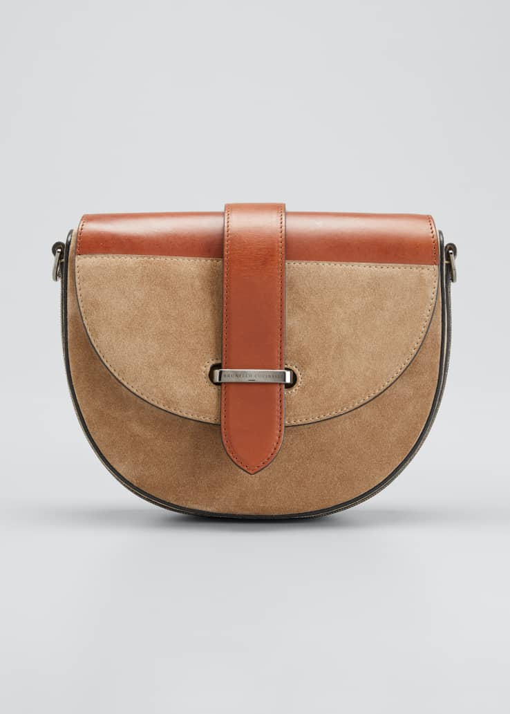 Two-Tone Mixed Leather Crossbody