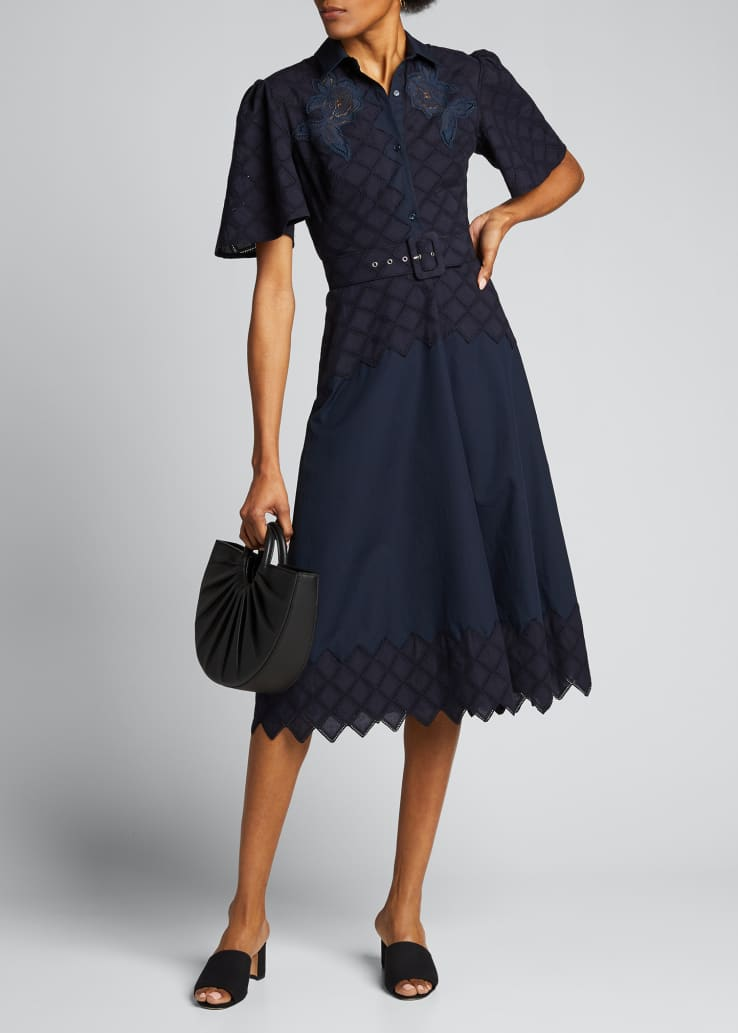 Eyelet Embroidered Shirtdress