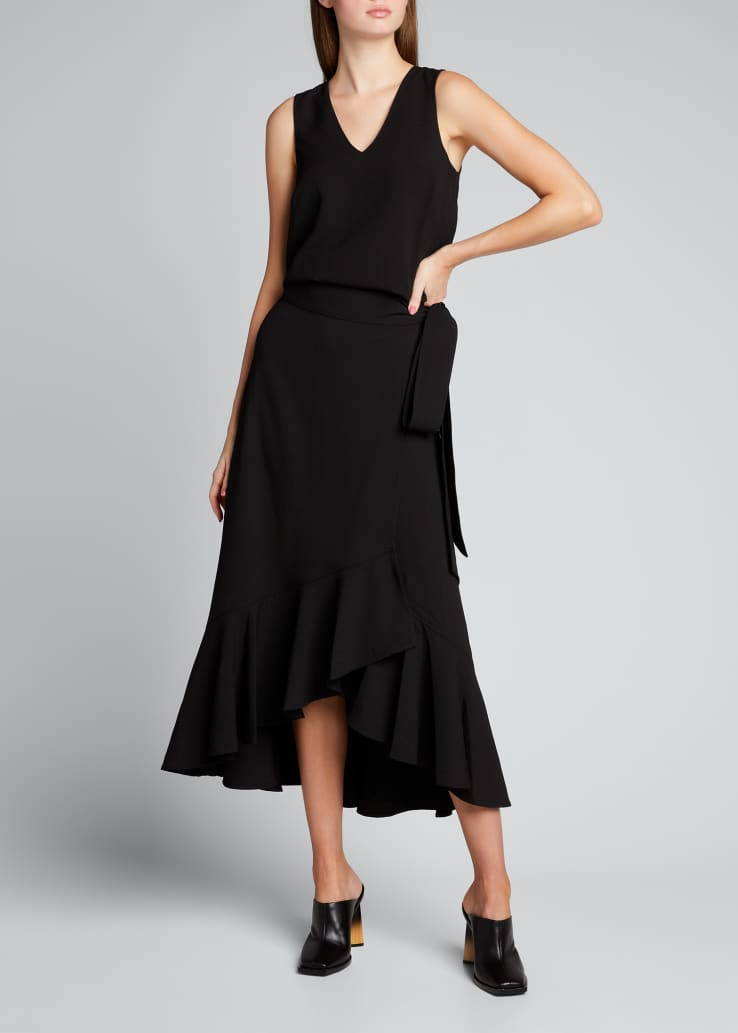 Midi Crepe Side-Tie Frill Skirt