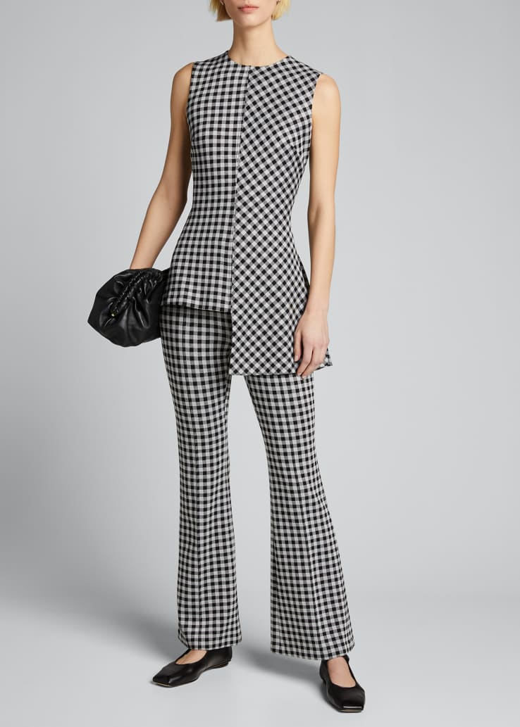Checked Pull-On Cropped Flare Pants