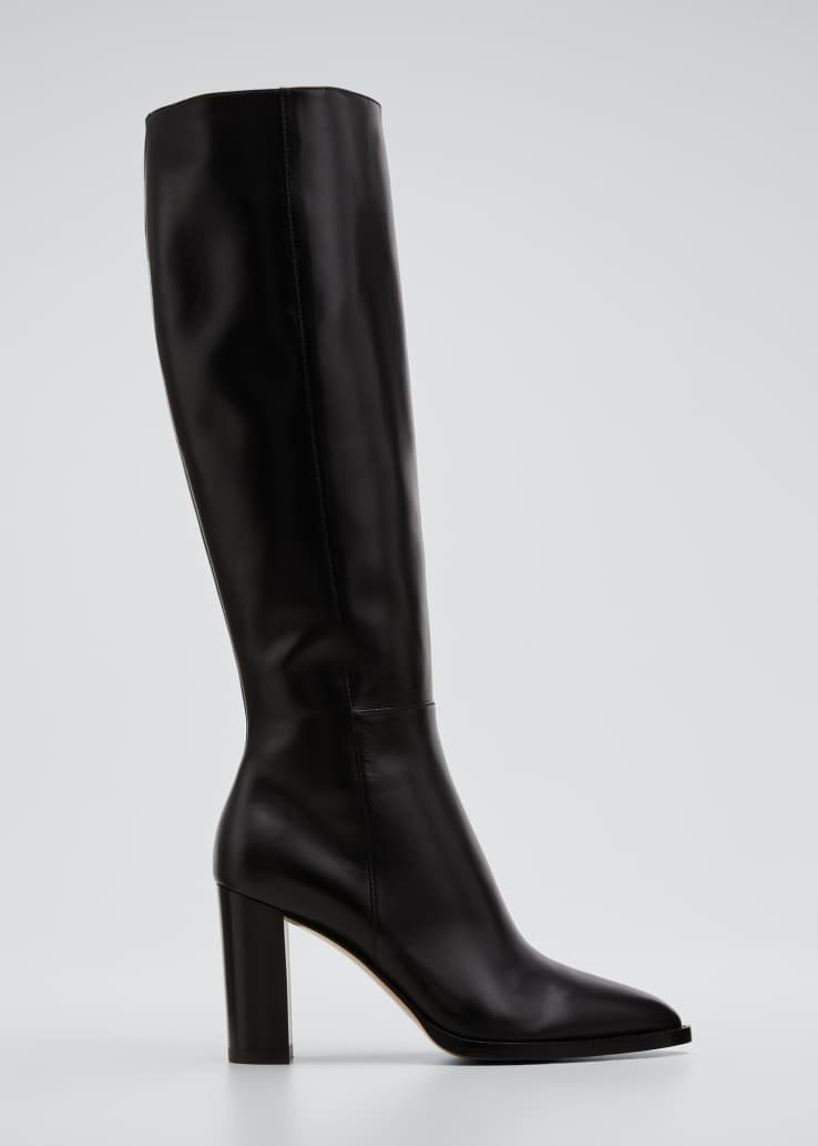 85mm Leather Zip Knee Boots