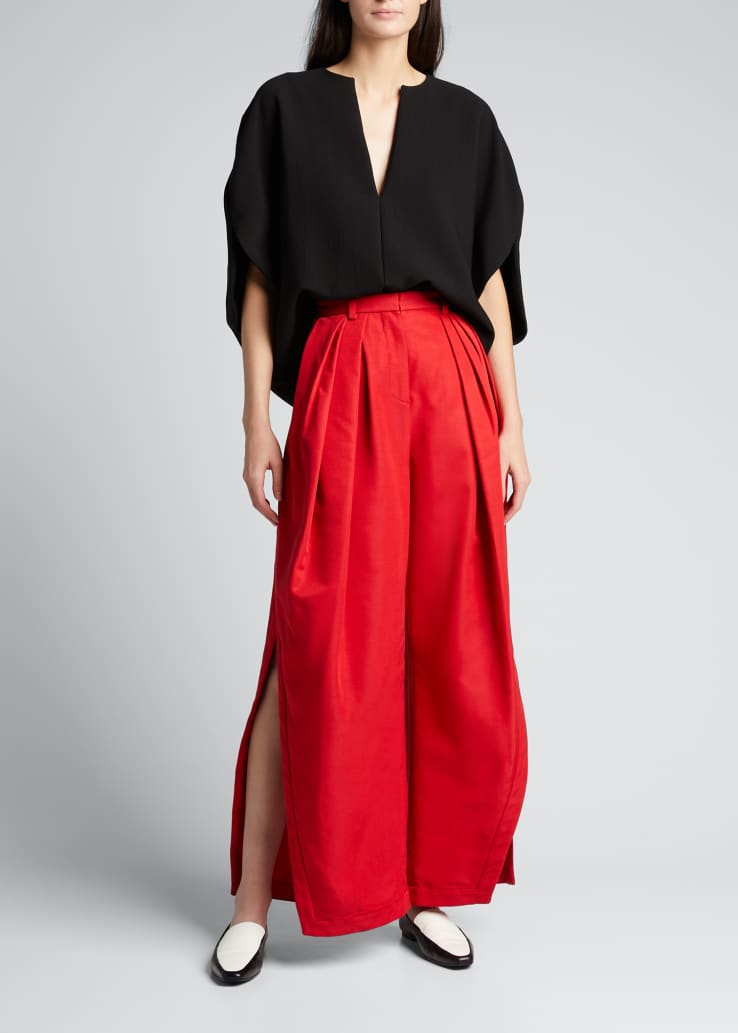 Pleated Asymmetric Wide-Leg Pants