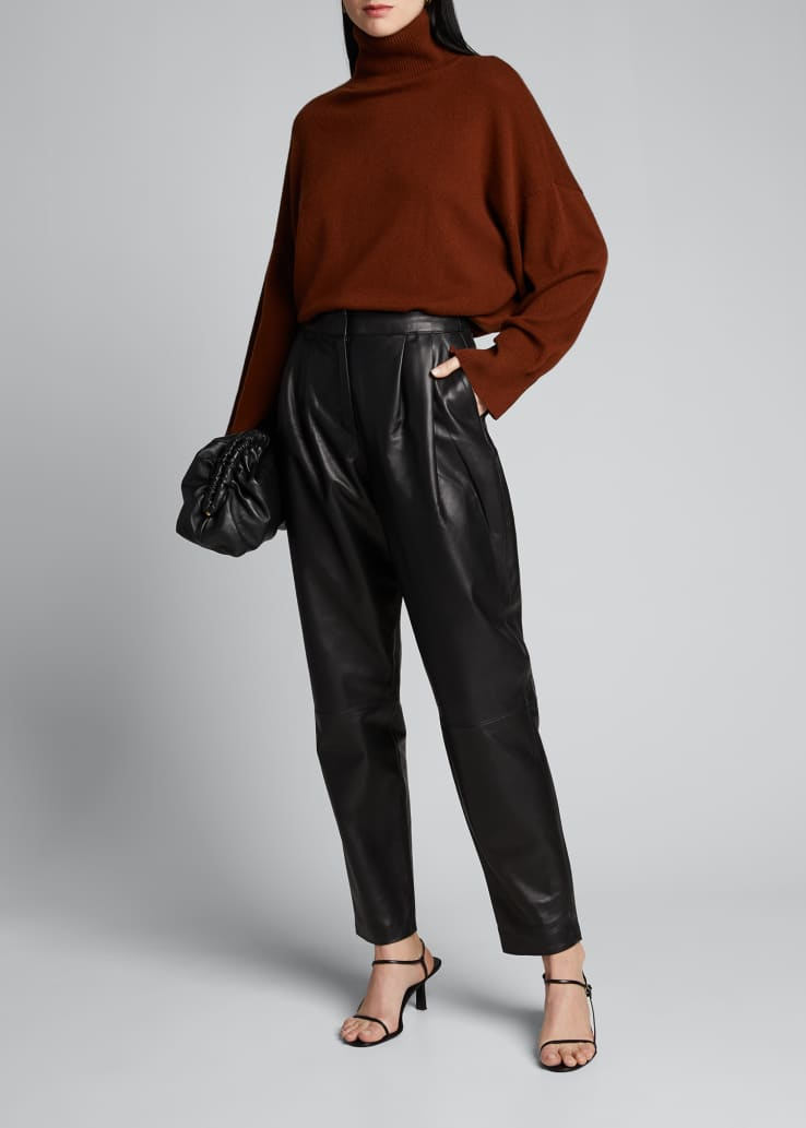 Leather Pleated Pants