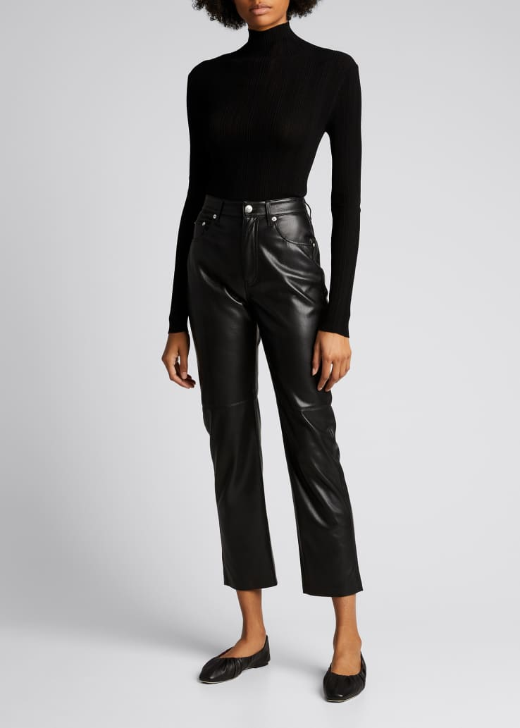 Vinni Faux-Leather Ankle Pants