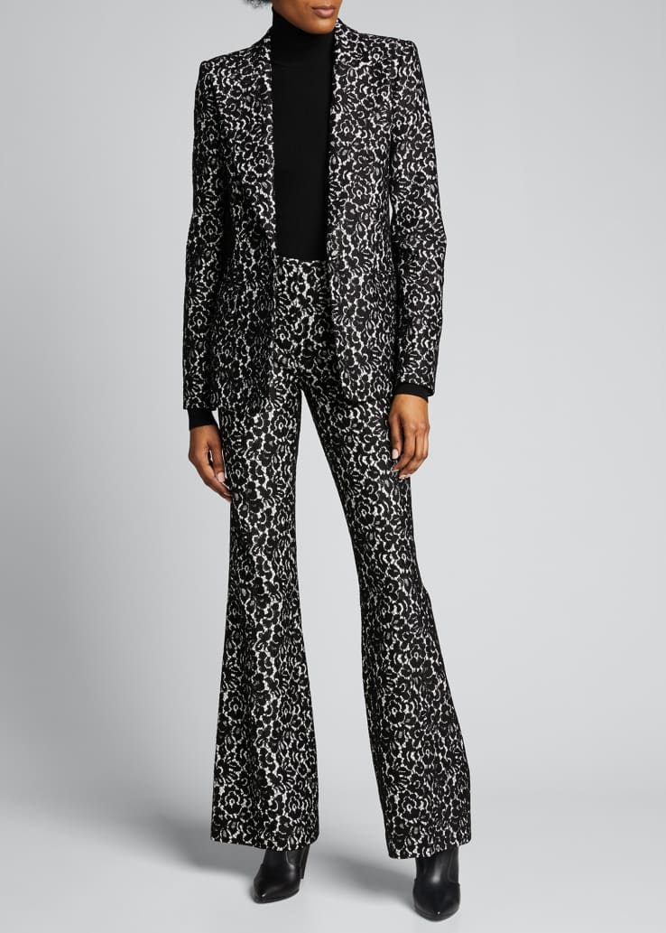 Floral Print Sable One-Button Blazer