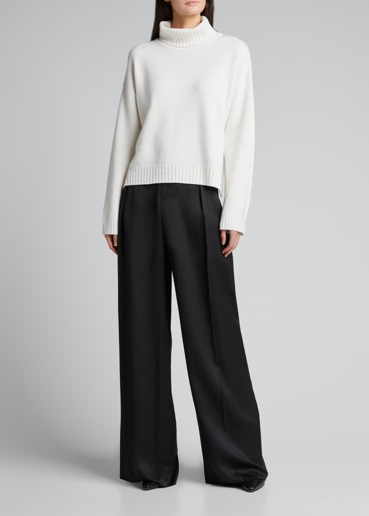 Cashmere High-Low Turtleneck Sweater