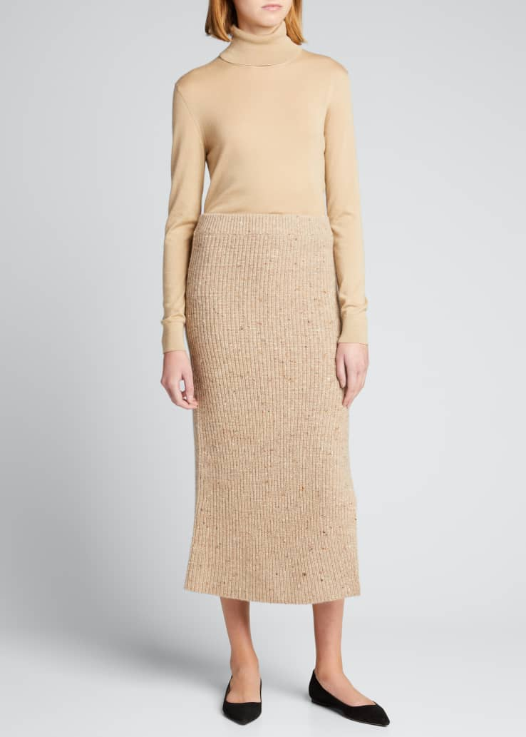 Embellished Wool-Cashmere Midi Skirt