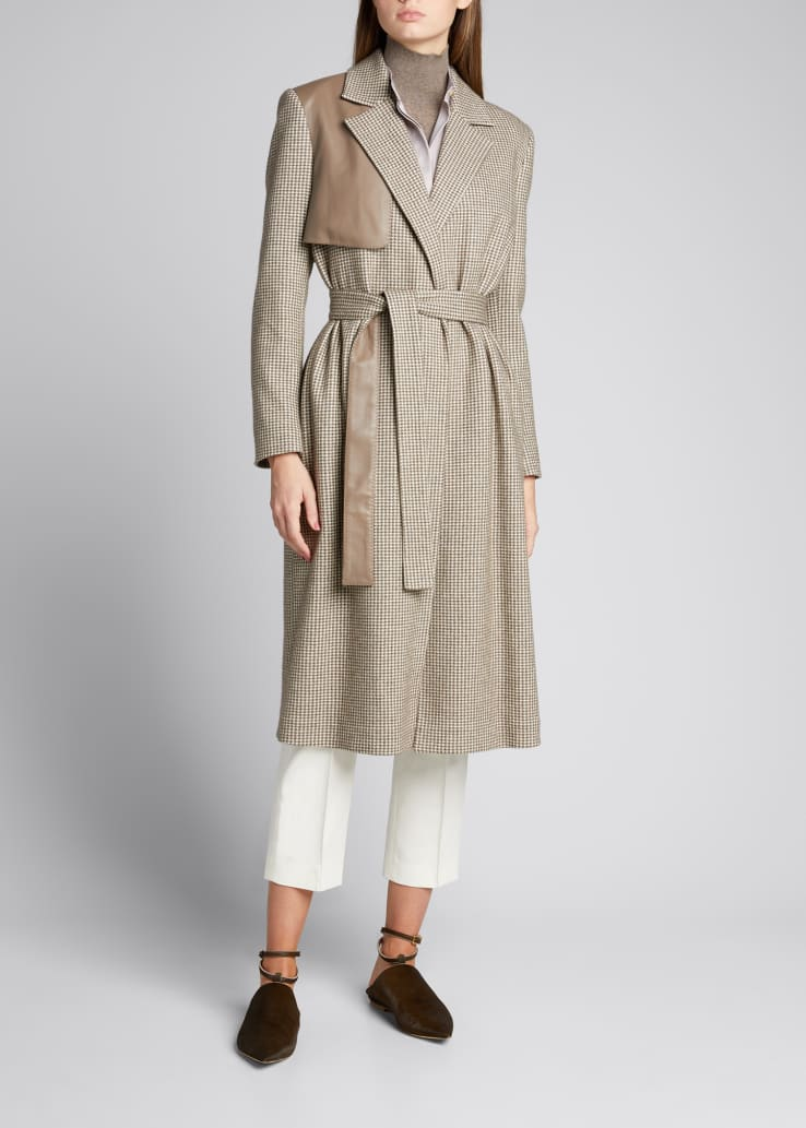 Colorblock Tie-Front Long Trench Coat