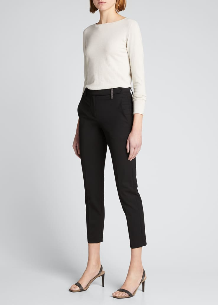 Couture Gabardine Cigarette Wool-Blend Pants