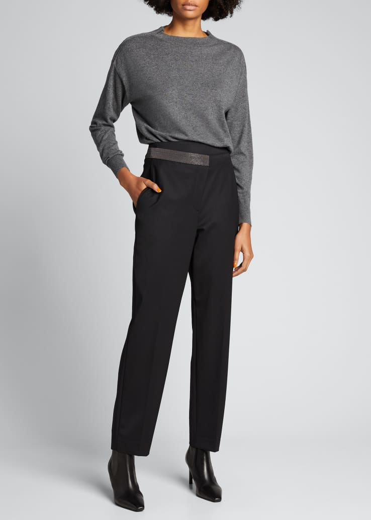 Wool Gabardine Pants with Monili Detail