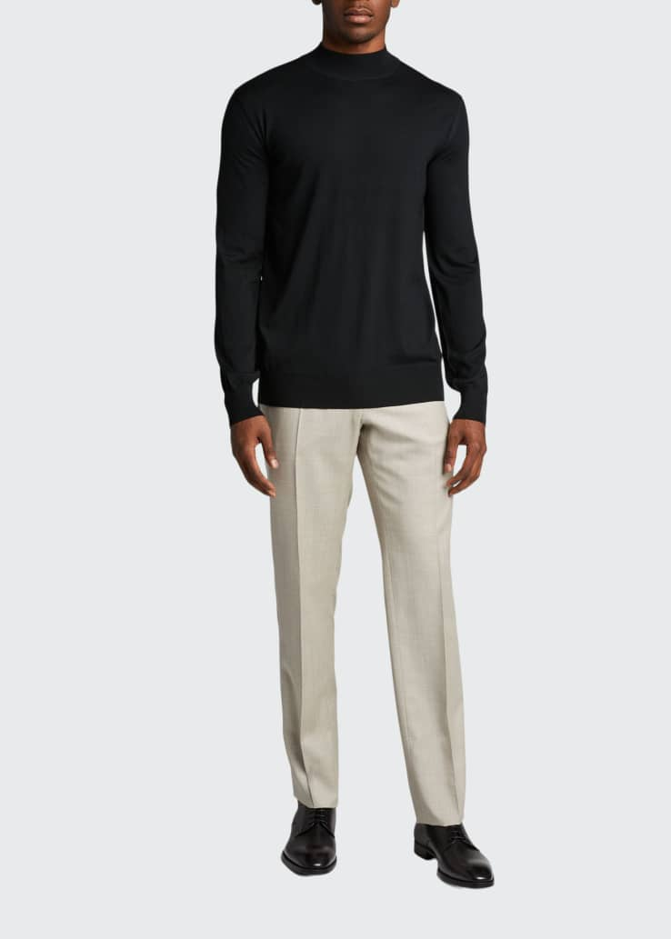 Men's Solid Mock-Neck Wool Sweater