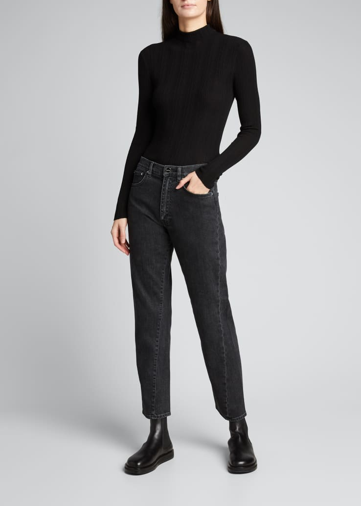 Straight-Leg Twist-Seam Cropped Jeans