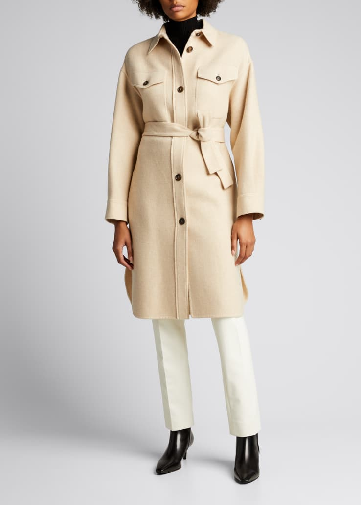 Cashmere Belted Long Shirt Coat