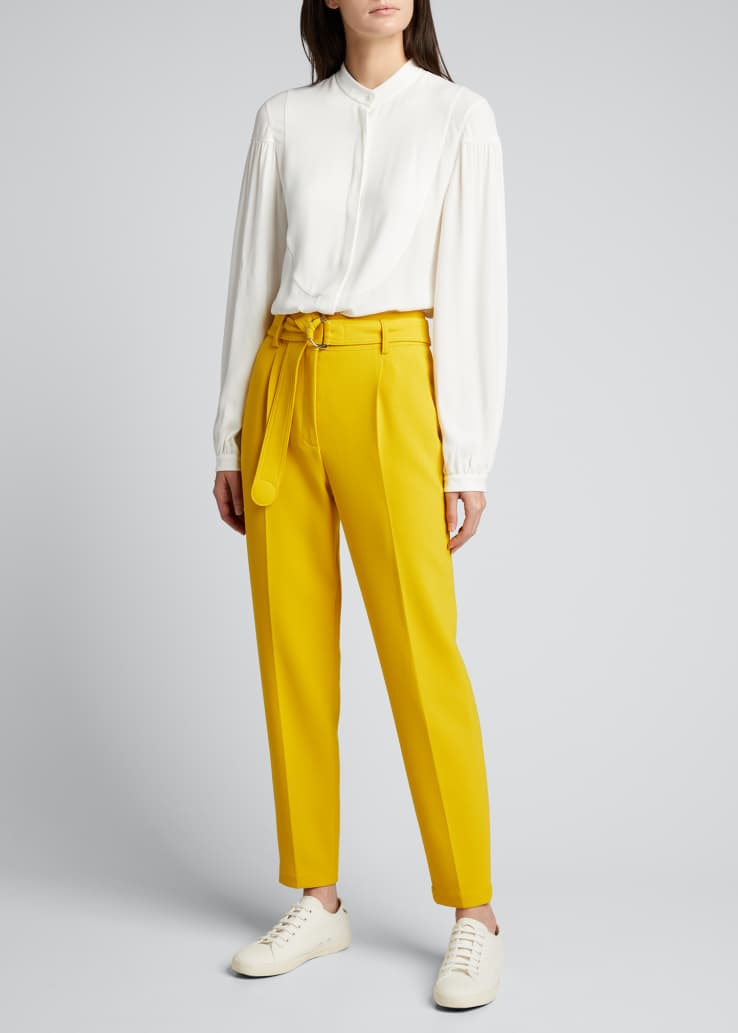 Fred Belted Straight-Leg Cropped Crepe Pants