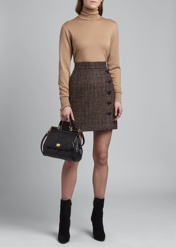 Side-Button Tweed Mini Skirt