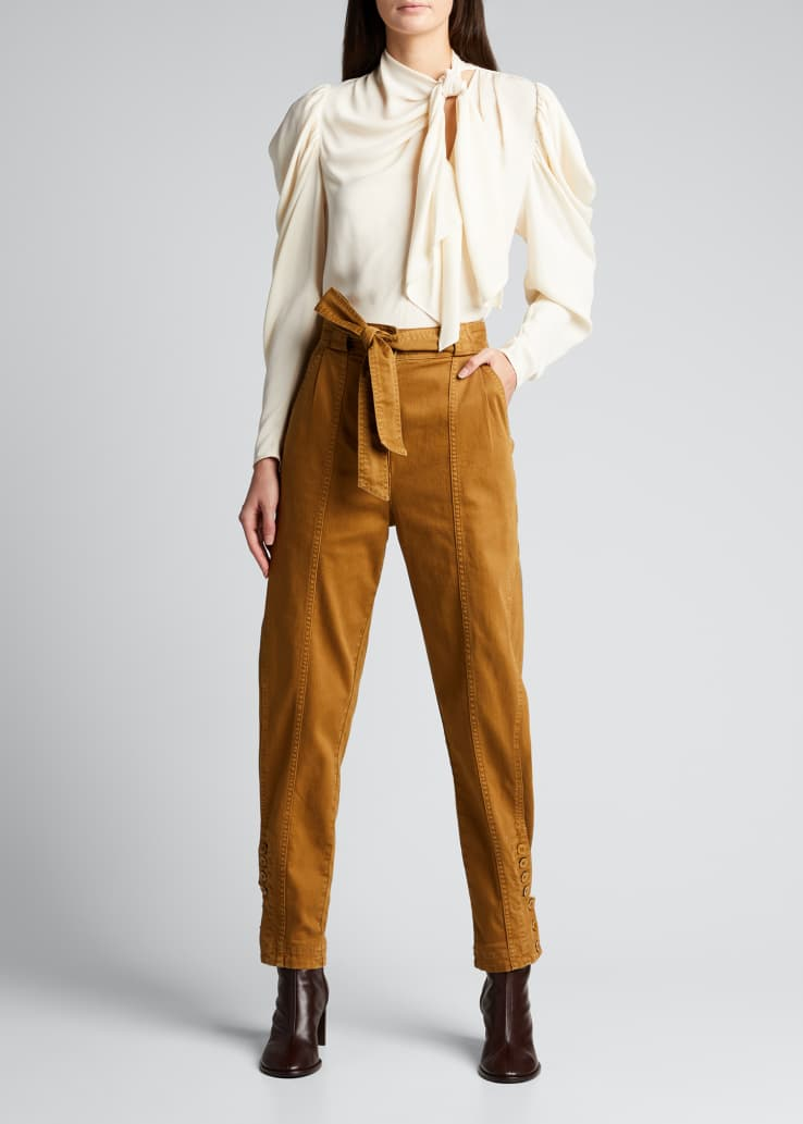 Carmen Belted Button-Cuff Jeans