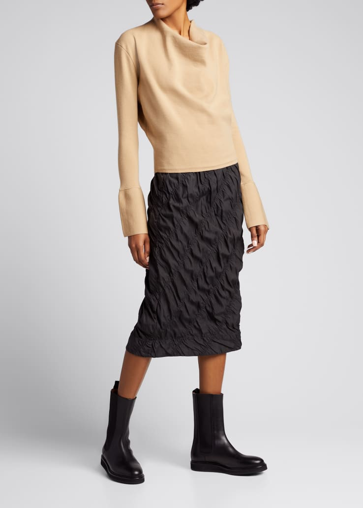 Ruched Side-Zip Parachute Skirt