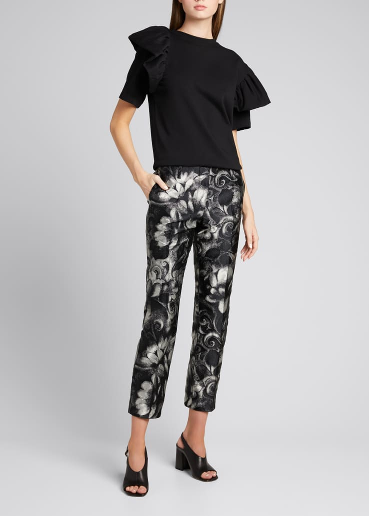 Cropped Jacquard Ankle Pants