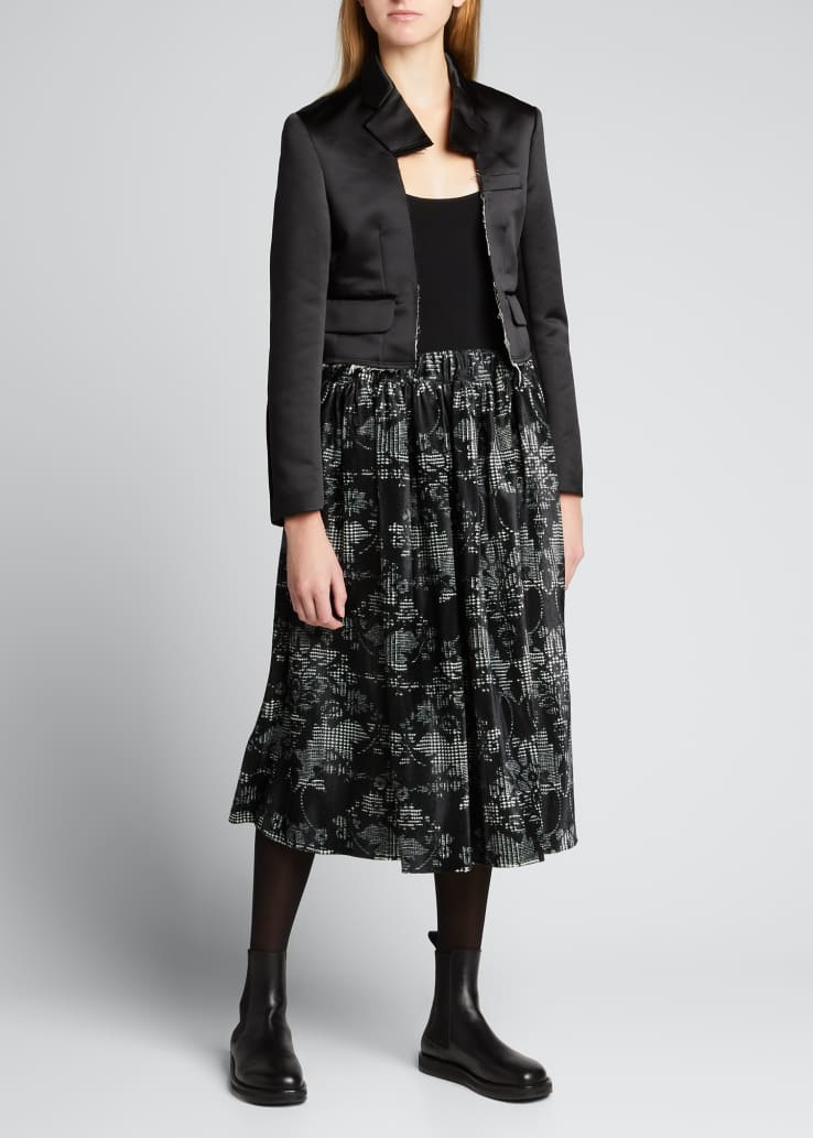 Printed Satin Midi Skirt
