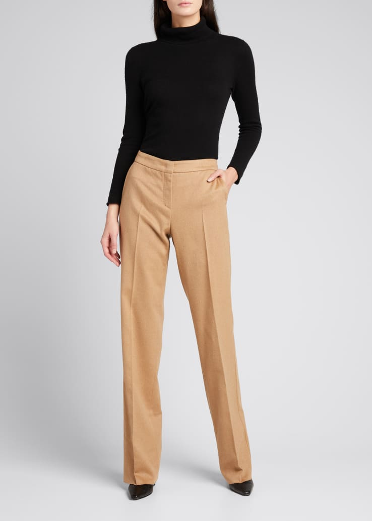 Pescia Camel Hair Straight-Leg Trousers