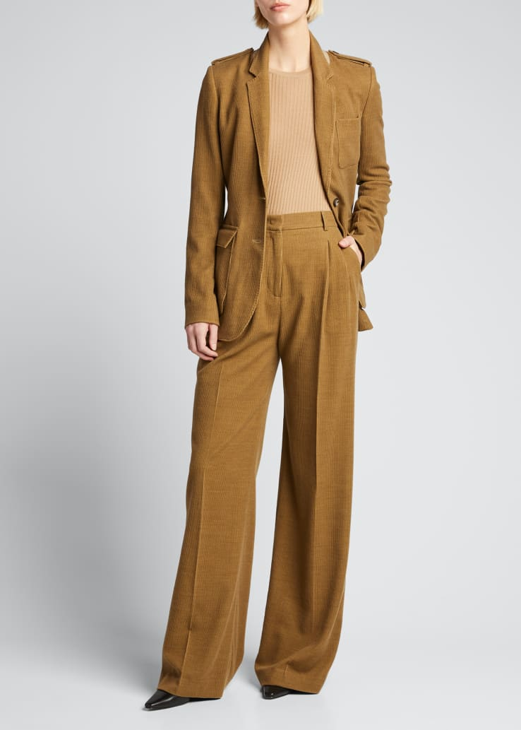 Sonia Wide-Leg Cashmere Corduroy Trousers