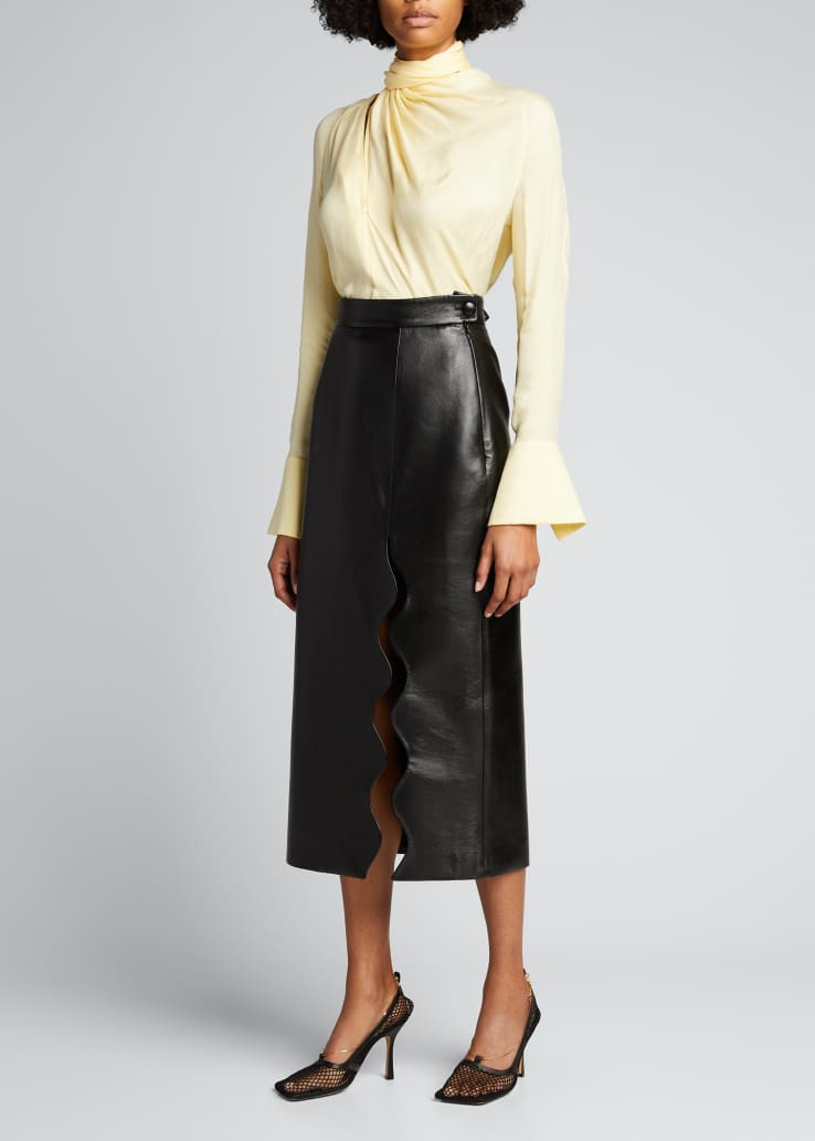 Faux-Leather Wave Midi Skirt