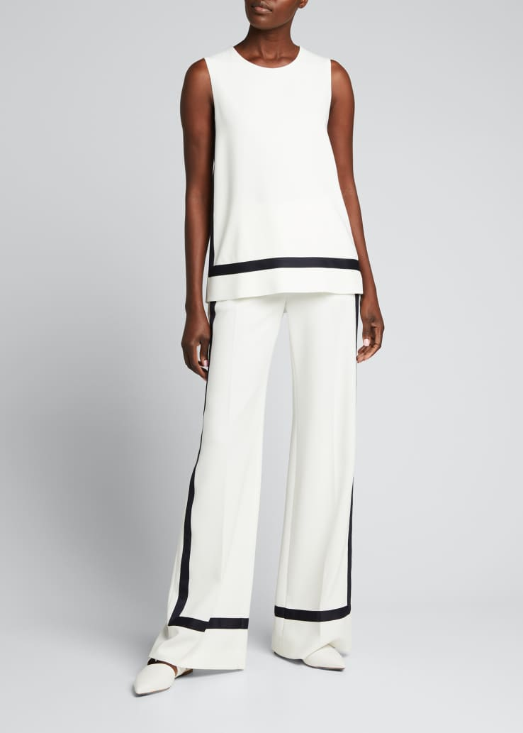 Cuneo Contrast-Trim Wide-Leg Trousers
