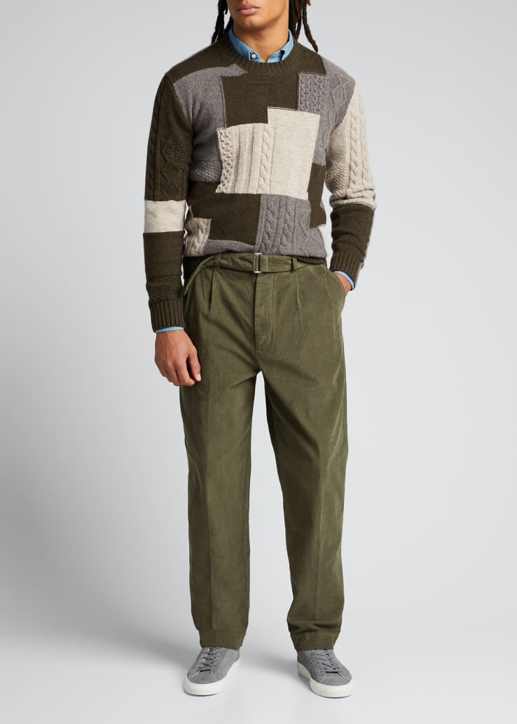 Men's Pleated Pigment-Dyed Corduroy Pants