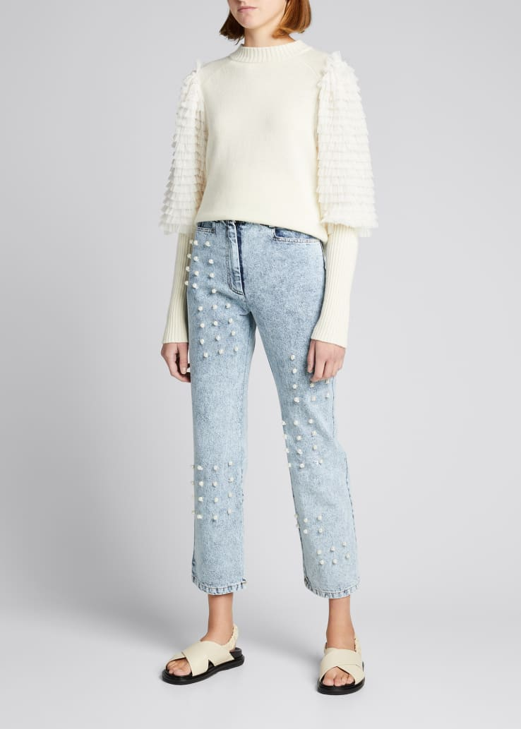 Novia Wool Sweater with Tiered Sleeves