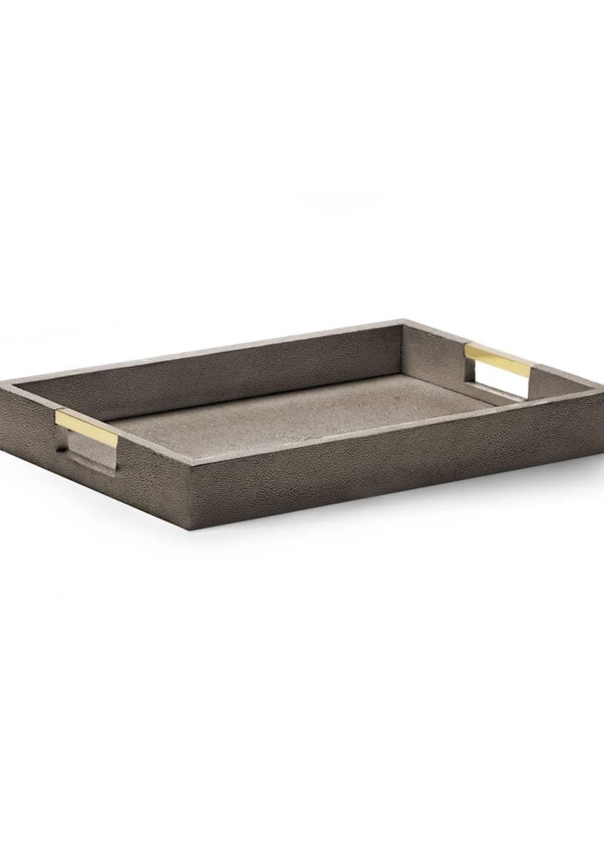 AERIN Chocolate Faux-Shagreen Desk Tray