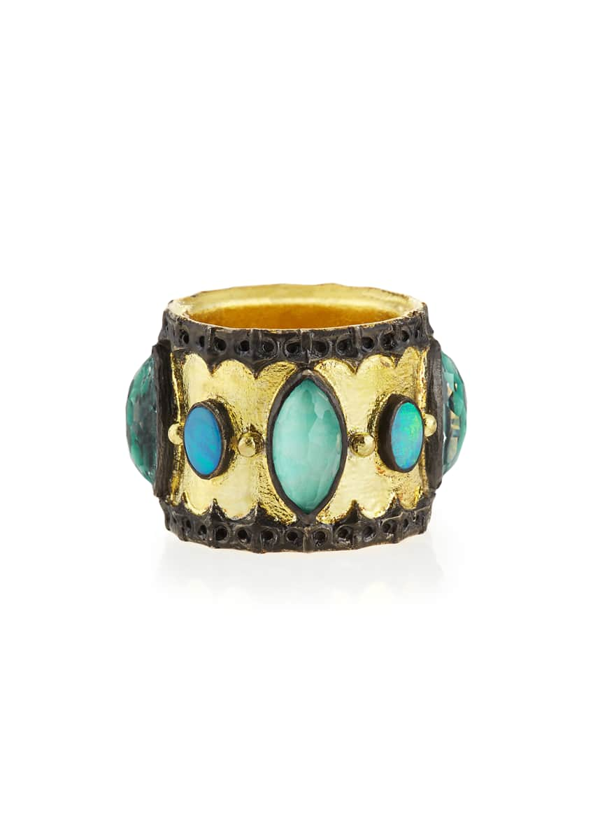 Armenta Green Turquoise & Opal Band Ring, Size