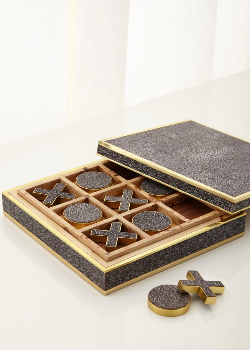 AERIN Chocolate Faux-Shagreen Tic Tac Toe