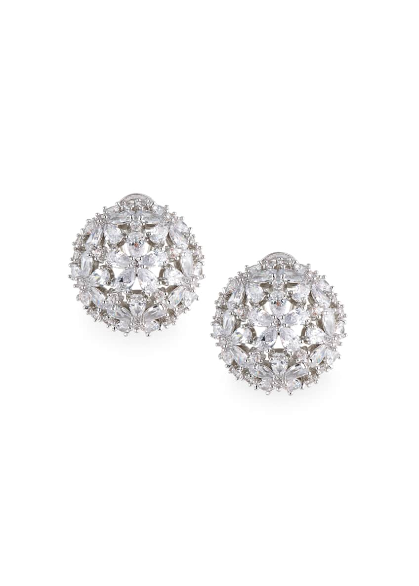 Image 1 of 2: Monarch Florette Crystal Button Earrings
