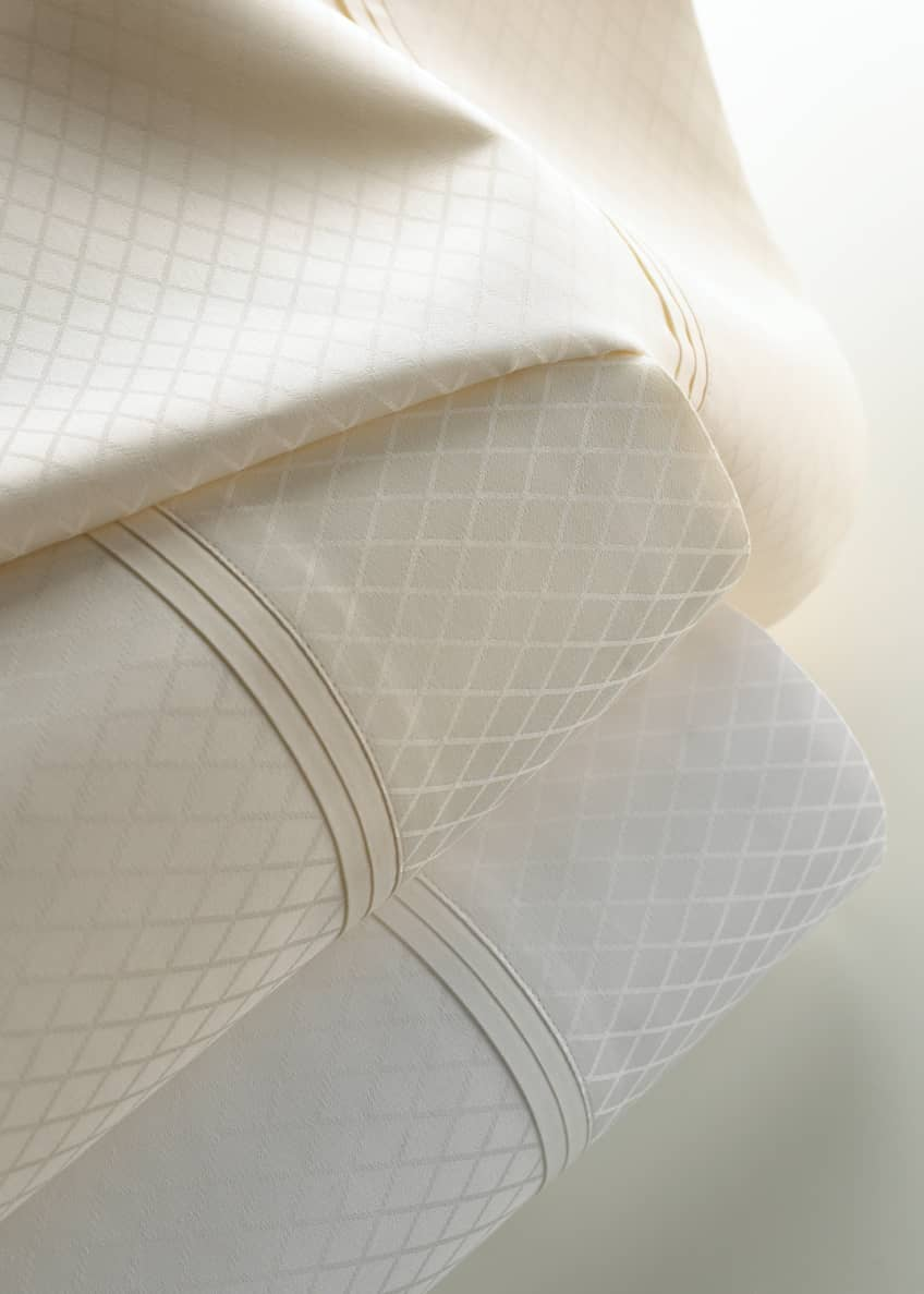 Image 1 of 1: Two King 600 Thread Count Diamond Jacquard Sateen Pillowcases