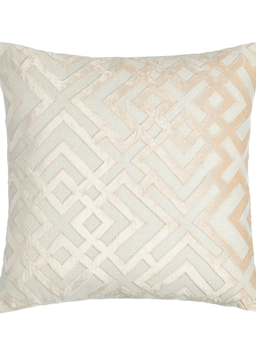 Image 1 of 1: Karl Basketweave Pillow with Velvet Applique