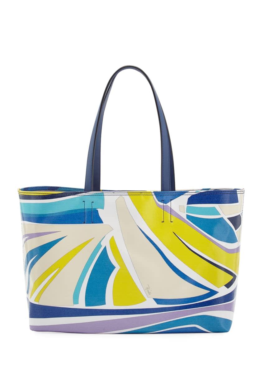 Emilio Pucci Lance Printed Canvas Tote Bag &