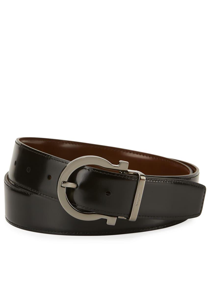 Salvatore Ferragamo Reversible Leather Gancio Buckle Belt &