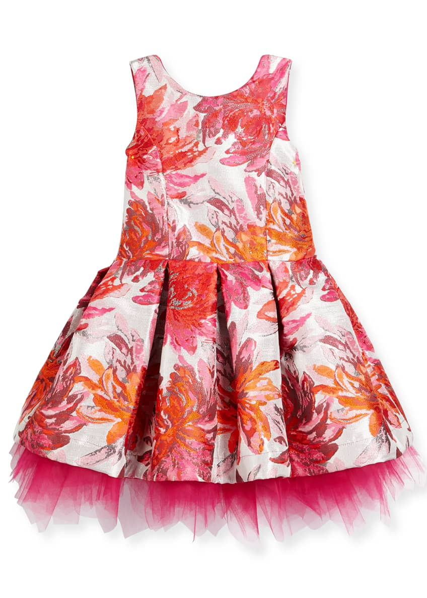 Zoe Sleeveless Pleated Floral Brocade Dress, Pink, Size