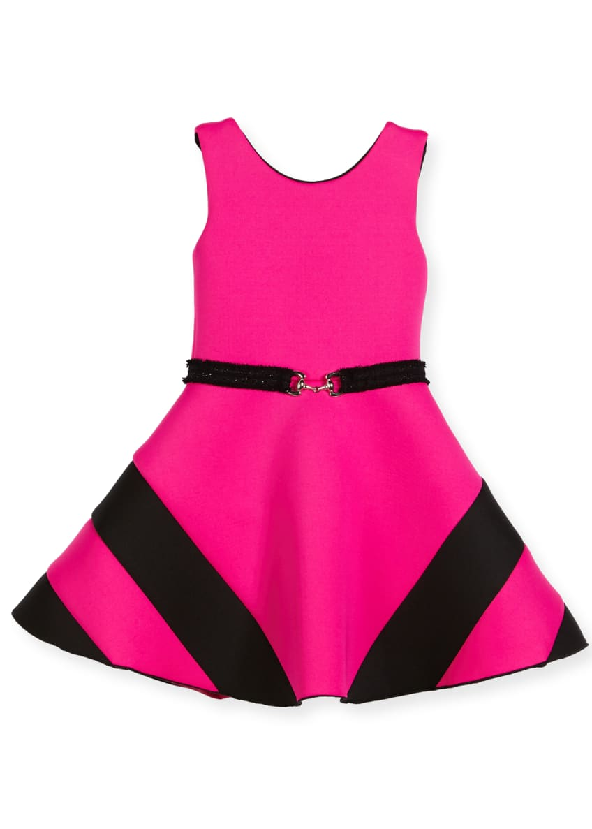 Zoe Colorblock Belted Dress, Size 4-6X & Matching