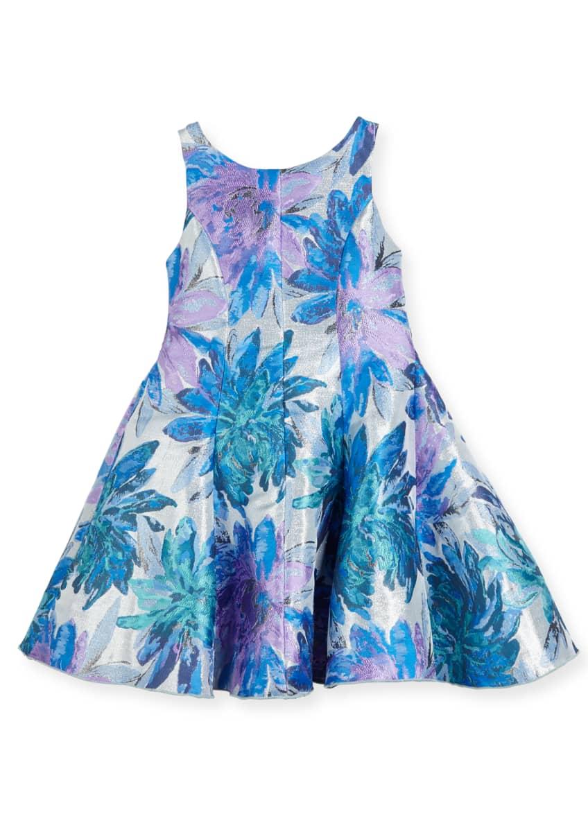 Zoe Blue Dahlia Metallic Floral Brocade Dress, Size