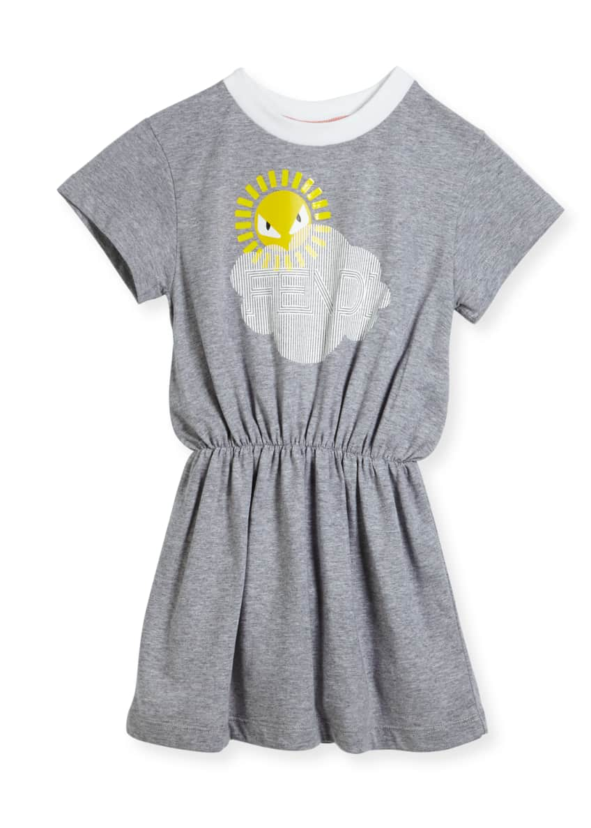 Fendi Short-Sleeve Logo Cloud Sun Graphic Dress, Size